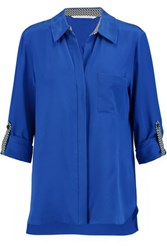 Diane Von Furstenberg Lorelei Silk Crepe De Chine Shirt Royal Blue