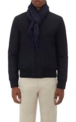 Drakes Drake's Men's Dotted Modal Cashmere Twill Scarf Navy