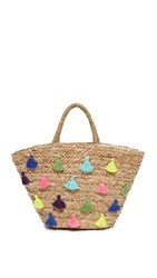 Hat Attack Seagrass Tote With Tassels Natural Multi