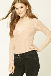 Forever 21 Sheer Lace Up Bodysuit Peach