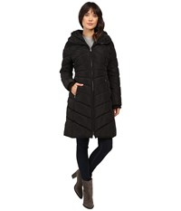 Jessica Simpson Chevron Quilted Down With Hood Black Women's Coat