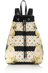 Mother Of Pearl Silvie Leather Trimmed Printed Brushed Satin Backpack Yellow