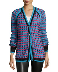 Prabal Gurung Grid Stitch Long Sleeve Cardigan Teal