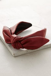 Anthropologie Knotted Leather Headband Wine