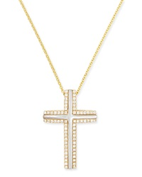 Large 18K Yellow Gold Cross Necklace With Mother Of Pearl And Diamonds Frederic Sage