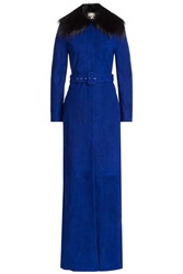 Emilio Pucci Suede Coat With Detachable Fox Fur Collar Blue