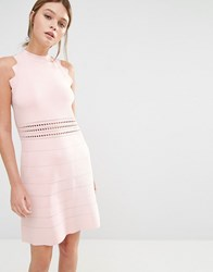Ted Baker Natleah Knitted Mini Dress 58 Baby Pink
