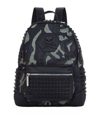 Philipp Plein Camouflage Studded Backpack Unisex Green