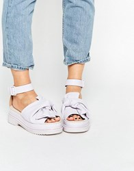 Asos Filly Chunky Bow Flat Sandals Lilac Purple