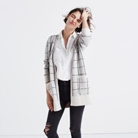 Madewell Ryder Cardigan Sweater In Bird's Eye Windowpane Heather Cement