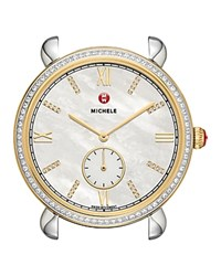 Michele Gracile Two Tone Gold Diamond Dial Watch Head 36Mm White