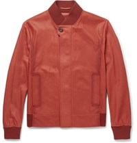Berluti Washed Leather Bomber Jacket Red