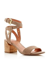 Sigerson Morrison Rina Ankle Strap Mid Heel Sandals Sepia