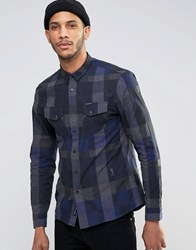 Religion Checked Long Sleeve Shirt Navy