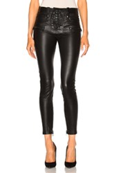 Unravel Leather Lace Up Skinny Pants In Black