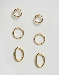 Asos Mixed Open Circle Stud Earring Pack Gold