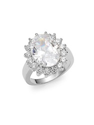 Cz By Kenneth Jay Lane Oval White Stone Ring Silver