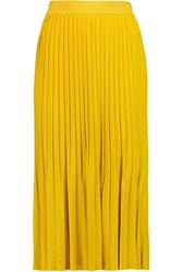 Vionnet Stretch Jersey Pleated Skirt Yellow