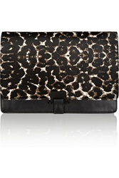 Sandro Angy Leopard Print Calf Hair And Leather Clutch Animal Print