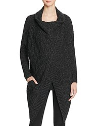 Aqua Draped Cable Knit Sweater Coat Black Twist