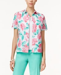 Alfred Dunner Tank Inset Floral Shirt Multi