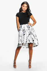 Boohoo Jay Sateen Printed Skirt Skater Dress Black