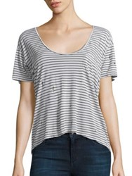 Joe's Jeans Distressed Silk And Cotton Striped Tee Black White