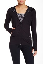 Steve Madden Mesh Combo Hooded Run Jacket Black