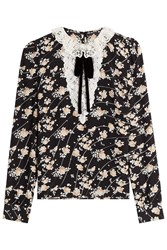 The Kooples Printed Silk Blouse With Lace Florals