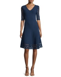 Milly Half Sleeve Diamond Pointelle Fit And Flare Dress Navy