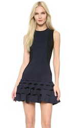 Dion Lee Slash Ruffle Mini Dress Ink Black