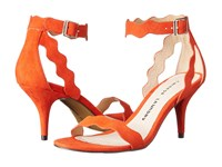 Chinese Laundry Rubie Scalloped Sandal Sweet Orange Micro Suede High Heels