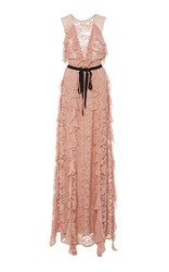 Sachin Babi And Melody Ruffled Lace Gown Light Pink