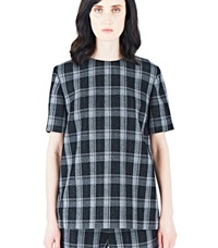 Proenza Schouler Plaid Short Sleeved Top Black