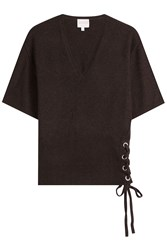 Claudia Schiffer Wool And Cashmere Top With Lace Up Side Brown