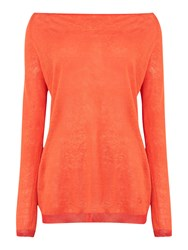 Armani Jeans Long Sleeve Linen Mix Bow Back Top Orange