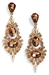Women's Tasha Chandelier Earrings Gold Smoky Topaz