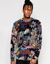 Jaded London Velvet Sweatshirt With All Over Floral Bird Print Navy