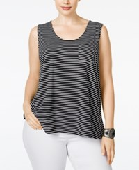 American Rag Plus Size Striped Tank Top Only At Macy's Black Combo