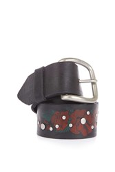 Topshop Leather Paint Stud Flower Belt Black