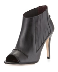Etienne Aigner Kate Leather Peep Toe Bootie Black