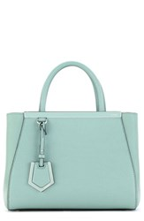 Fendi 'Petite 2Jours Elite' Leather Shopper Blue Mint Palladium