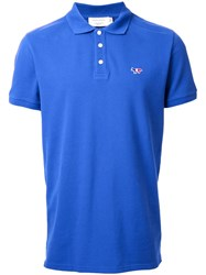Maison Kitsune Tricolour Fox Polo Shirt Blue