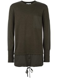 Helmut Lang Chest Pocket Layered Jumper Green