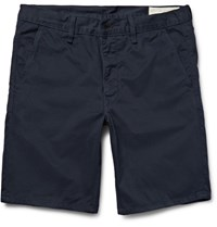 Rag And Bone Washed Cotton Twill Chino Shorts Navy