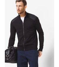Perforated Zip Front Sweater