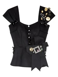 Dolce And Gabbana Embellished Peplum Top Black