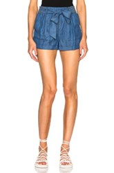Carisa Rene By Nightcap Chambray Tie Shorts In Blue