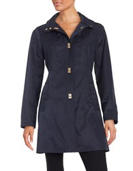 Jones New York Petite A Line Turn Lock Jacket Navy