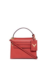 Valentino 'My Rockstud' Small Top Handle Leather Bag Red
